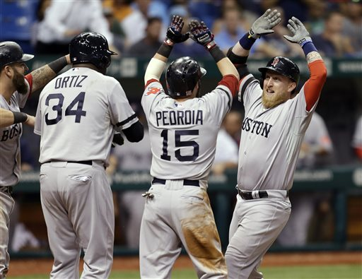 Boston Red Sox's Mike Carp, right, celebrates with teammates, from left, Mike Napoli, David Ortiz, and Dustin Pedroia after his 10th-inning grand slam off Tampa Bay Rays relief pitcher Roberto Hernandez during a baseball game Wednesday, Sept. 11, 2013, in St. Petersburg, Fla. (AP Photo/Chris O'Meara) Tropicana Field
