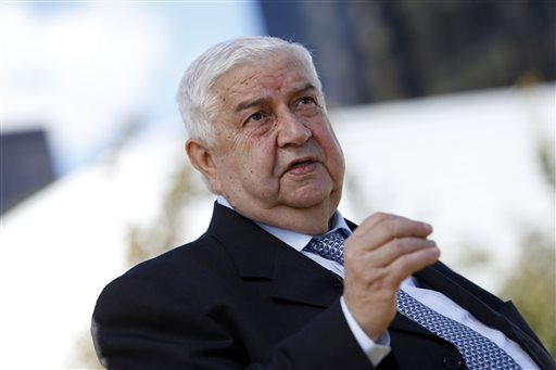 Syrian Foreign Minister Walid al-Moallem gives an interview during the 68th session of the United Nations General Assembly at U.N. headquarters on Saturday.