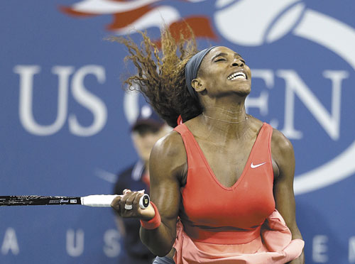 YES! Serena Williams reacts after beating Victoria Azarenka during the women's singles final of the U.S. Open on Sunday in New York.