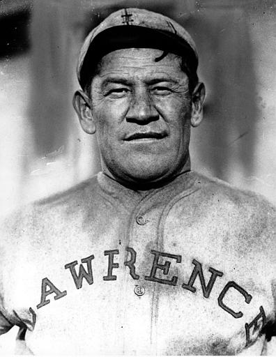 This is an undated photo of Jim Thorpe in a baseball uniform. Considered one of America's greatest athletes, he played professional baseball, 1913-1919, with the New York Giants, Cincinnati Reds, and Boston Braves. He played professional football between 1919 and 1926.