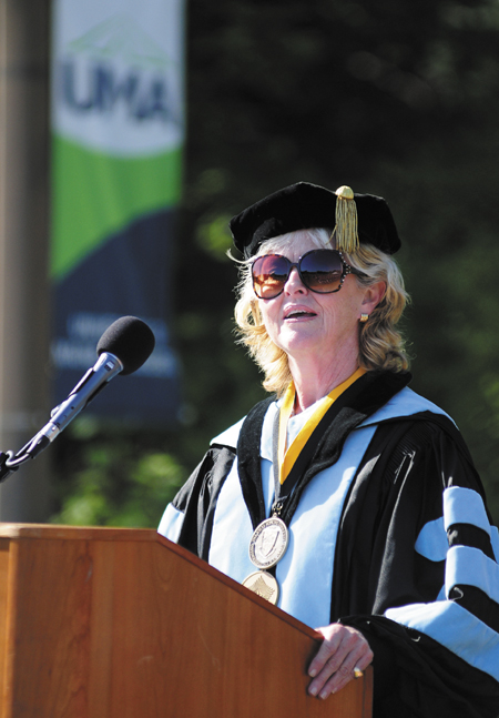 President Allyson Handley speaks during the convocation at the University of Maine at Augusta today.