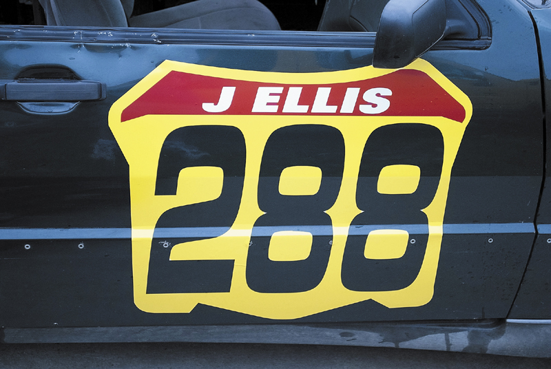The number on the door of Cameron Folsom's race car bears the number 288 and the name