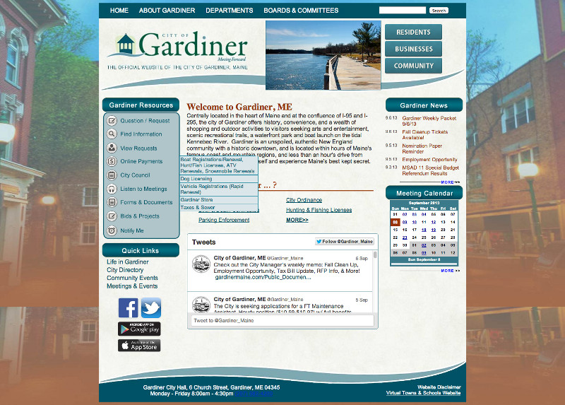 This screen capture taken today shows the City of Gardiner's new website.