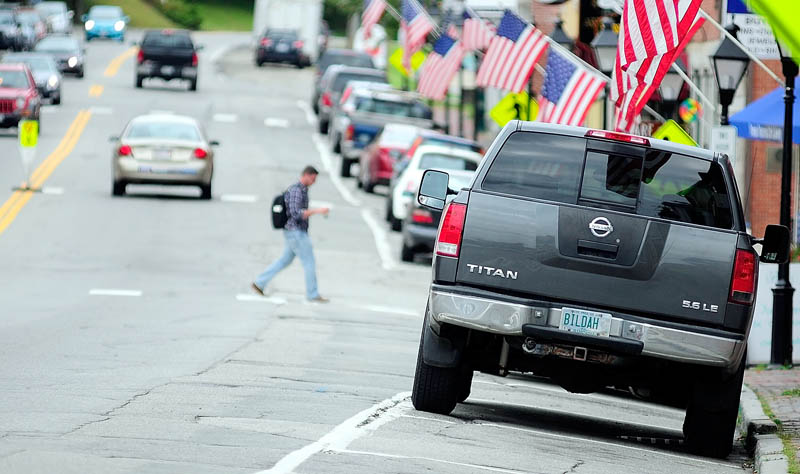 This photo taken today shows slanted parking spaces on the east side of Water Street in downtown Hallowell.