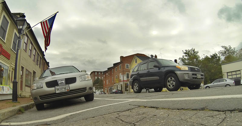 Slanted parking spaces on the east side of Water Street in downtown Hallowell are shown in this photograph taken today.