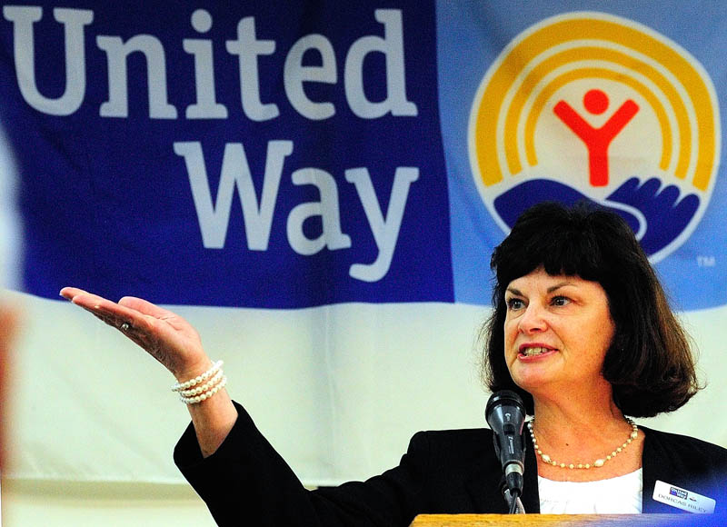 Campaign Chair Dorcas Riley speaks on Wednesday during the United Way of Kennebec Valley breakfast event at the Augusta Civic Center.