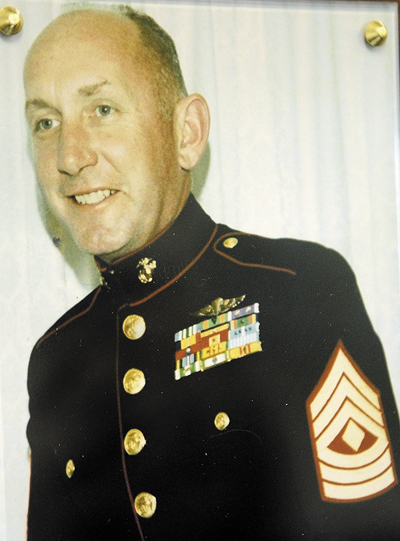 A plaque honoring Winthrop native Marine Corps First Sgt. Don