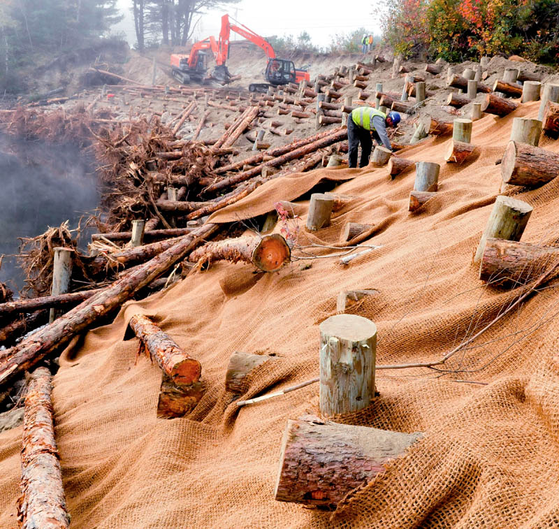 Karl Price places protective material over interlocked logs and dirt where workers have stabilized the eroded bank of the Sandy River near Whittier Road in Farmington today.