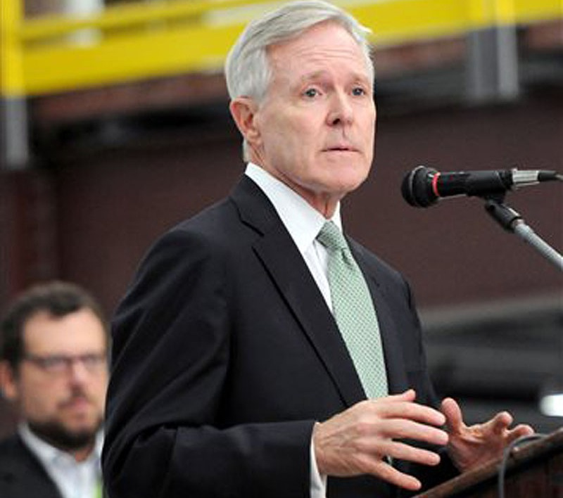 Navy Secretary Ray Mabus, shown speaking to workers at Marinette Marine Corp. in Marinette, Wis., last week, says the Navy could be forced to eliminate three dozen scheduled maintenance periods and cancel multi-year contracts on new ships if sequestration continues.