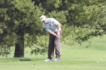 GETTING IT DONE: Cony High school graduate Tyler Moody shot less than 80 in all of his matches last season for the University of New England golf team. A grad student in the school's pharmacy program, Moody hopes to lead the golf team to a state title this season.