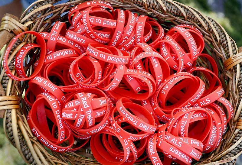 A basket holds wristbands worn by members of the Caldwell-Leskanic group during the Walk to Defeat ALS in Portland on Saturday. The group raised $17,000.
