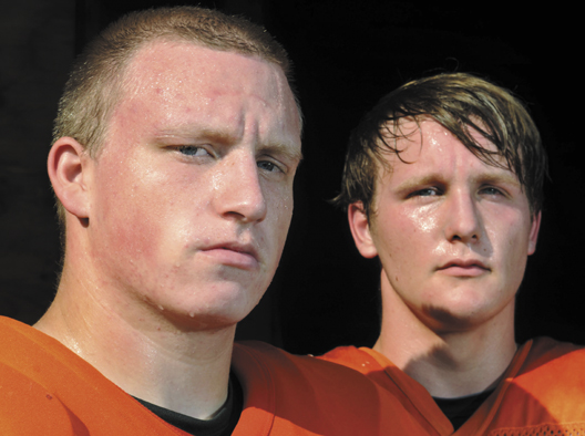 Brad Weston, left, and Andrew Doody Veilleux are the only returning starters on the Gardiner Area High School football squad.