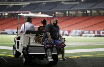 New England Patriots defensive tackle Vince Wilfork is transported out of the Georgia Dome after he was injured during the second half of Sunday's game against the Atlanta Falcons.