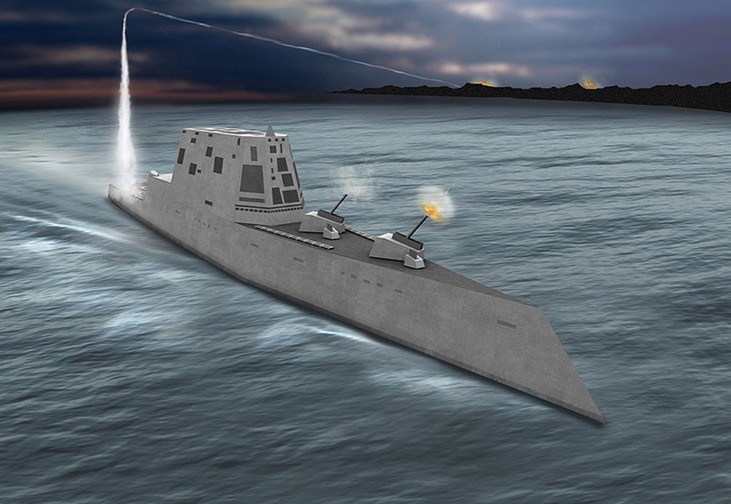 An artist's concept shows a view of the USS Zumwalt, a first-of-its-kind DDG 1000 class destroyer that will be launched on schedule at Bath Iron Works.