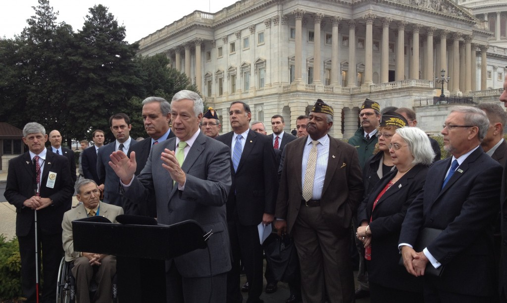 Rep. Mike Michaud of Maine speaks Wednesday on behalf of a bill that would provide expanded advanced funding for veterans programs in order to safeguard military retirees from the effects of federal shutdowns.