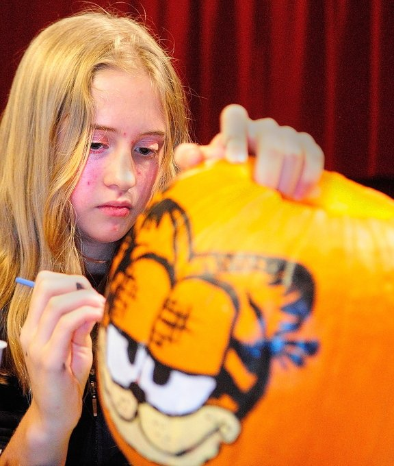 Pumpkin Painting: Kyara Dawbin paints a pumpkin during the After School Art Program on Wednesday at Johnson Hall in Gardiner.