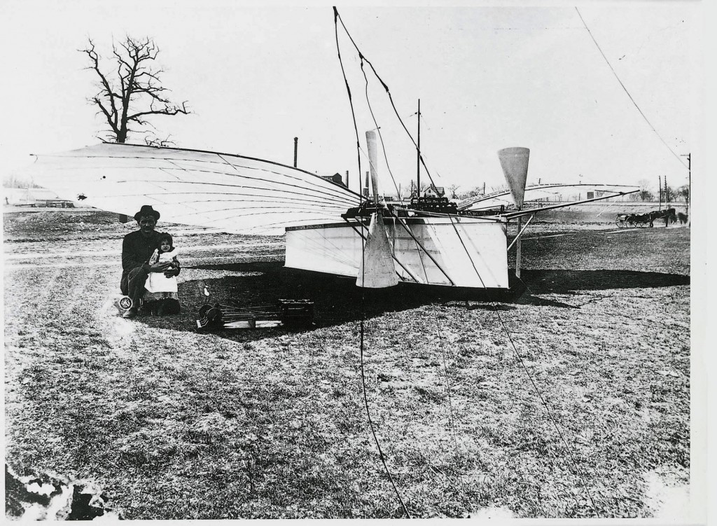 """This undated picture provided by the Weisskopf Museum shows Aviation Pioneer Gustave Whitehead with daughter Rose in front of his """"No. 21."""" Connecticut's leading role in aviation has never been disputed, but in June 2013, Connecticut Gov. Dannel P. Malloy signed a bill insisting that the Connecticut aviator flew two years before the Wright brothers at Kitty Hawk, N.C. The Wright brothers have long been credited as the first to achieve powered flight."""