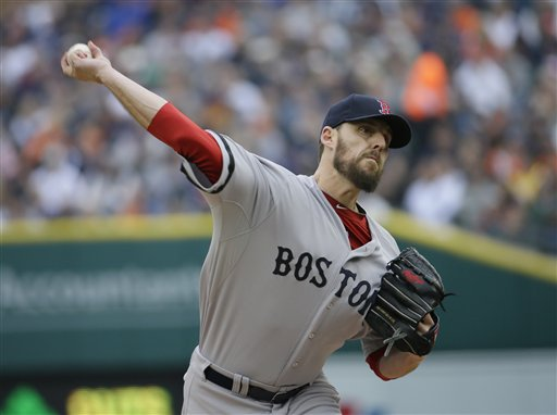 Boston Red Sox starting pitcher John Lackey delivers a pitch in the first inning during Game 3 of the American League Championship Series against the Detroit Tigers on Tuesday, in Detroit.