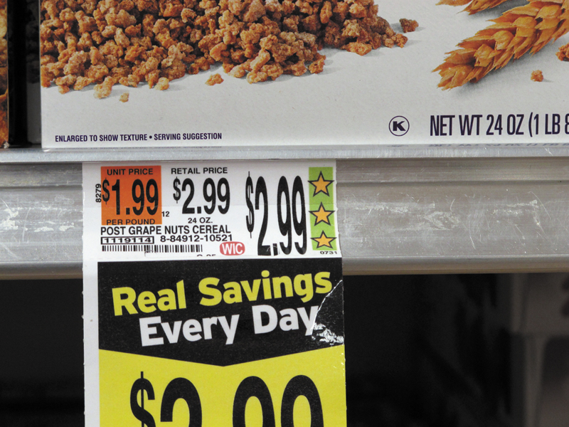 Hannaford grocery stores feature the company's Guiding Stars rating system, as shown on a cereal price tag at a South Portland store on Wednesday.