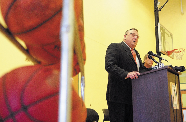 Gov. Paul LePage speaks during an event announcing this year's Taylor Tip Off on Thursday at the Kennebec Valley YMCA in Augusta.