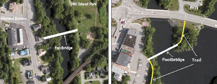 The Fairfield Town Council is close to buying one of two properties for a new riverfront park and footbridge across the Kennebec River.