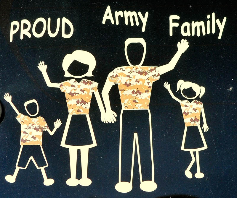 The silhouettes on the back of the Lewis' family vehicle wear camouflage.