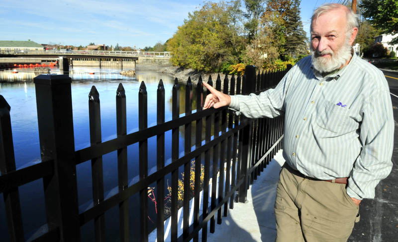 Skip Sorrentino, of Cornville, on Thursday, believes the pointed top to the new four-foot fence along West Front Street in Skowhegan poses a potential danger for anyone that may accidentally or recklessly come in contact with it.