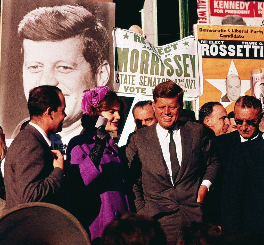 """In this October 1960 file photo Sen. John F. Kennedy and his wife, Jacqueline Kennedy, campaign in New York. The Kennedy image, the """"mystique"""" that attracts tourists and historians alike, did not begin with his presidency and is in no danger of ending 50 years after his death. Its journey has been uneven, but resilient - a young and still-evolving politician whose name was sanctified by his assassination, upended by discoveries of womanizing, hidden health problems and political intrigue, and forgiven in numerous polls that place JFK among the most beloved of former presidents."""