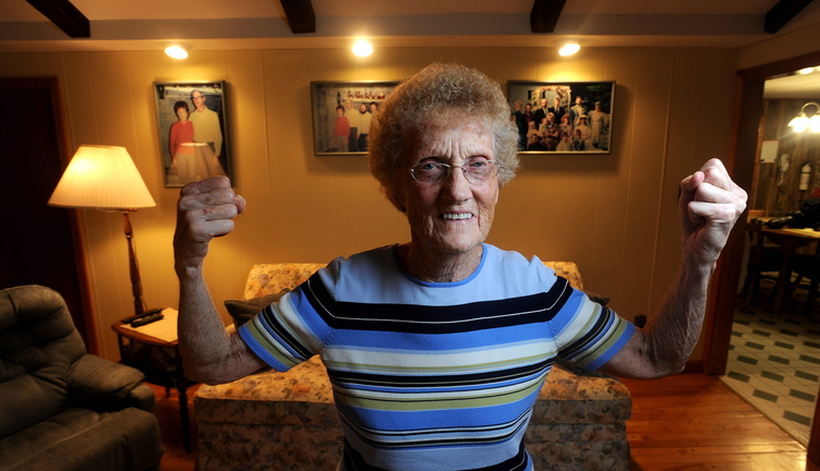 fIGHTING oSTEOPOROSIS: Marjorie Weeman, 78, of St. Albans, underwent an innovative spinal surgery in an effort to correct a painful back injury caused by osteoporosis.