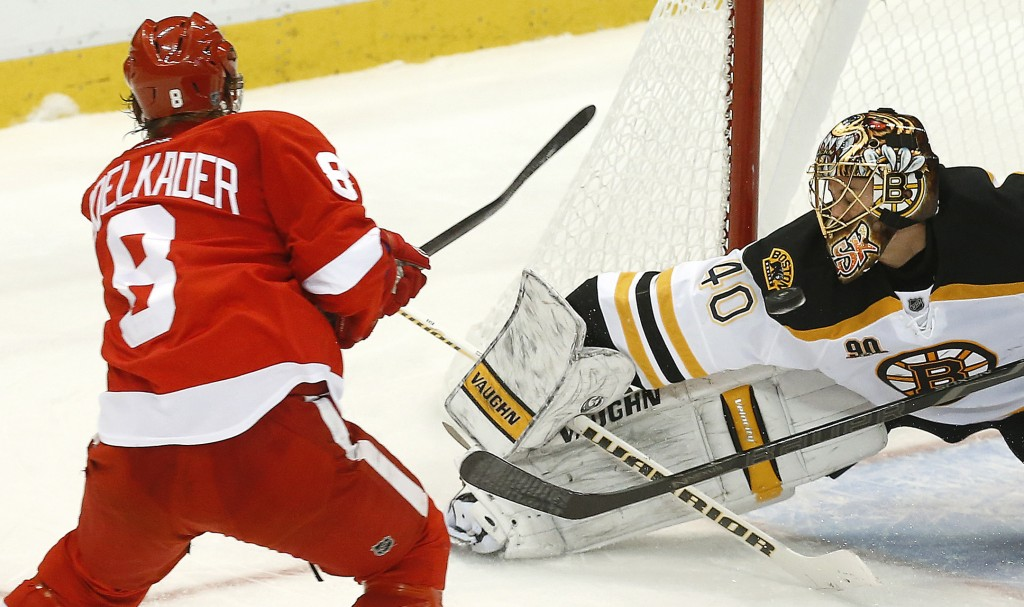 SAVE: Boston Bruins goalie Tuukka Rask (40) stops a Detroit Red Wings left wing Justin Abdelkader (8) shot in the third period of a game Wednesday in Detroit. Detroit won 6-1.