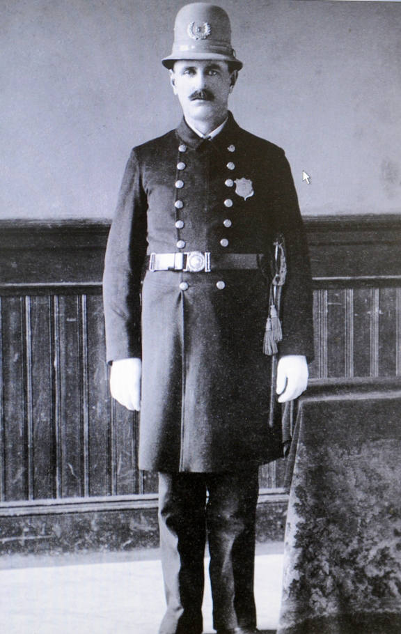 Part of history: A uniformed Augusta Police officer from the early 20th century in the collection of Augusta Police Chief Robert Gregoire.