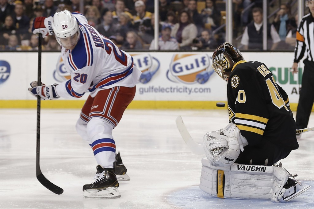New York Rangers' Chris Kreider (20) deflects a shot as Boston Bruins goalie Tuukka Rask of Finland defends during the first period of an NHL hockey game in Boston on Friday.