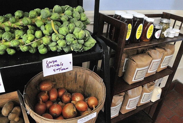 Local food: Fresh produce, honey and grains are some of the many items for sale at Founding Farmers Community Market in Gardiner.