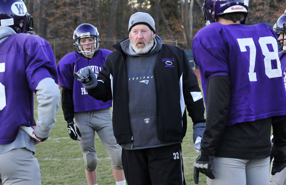 Staff photo by David Leaming Waterville football defensive line coach Chris Downing during practice with the team on Wednesday, Nov. 13, 2013.