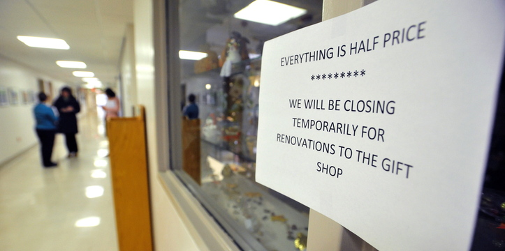 CHANGING: The gift shop is closing temporarily during renovations at the Thayer Center for Health in Waterville.