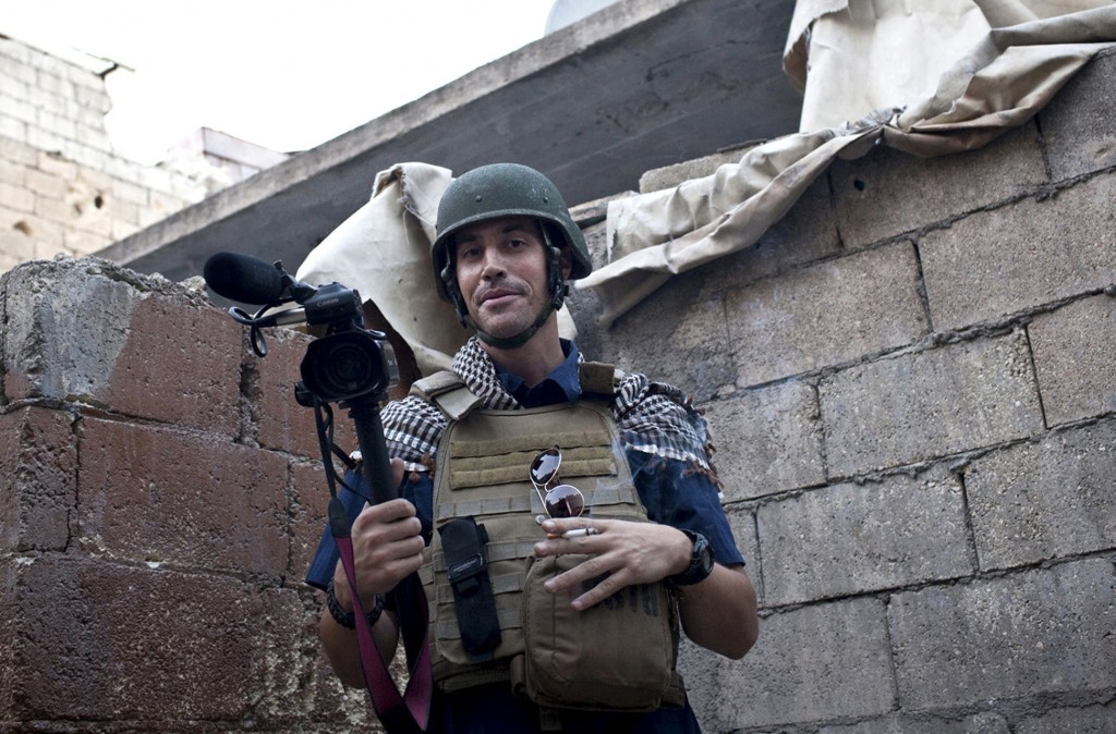 This November 2012 photo, posted on the website freejamesfoley.org, shows missing journalist James Foley while covering the civil war in Aleppo, Syria.