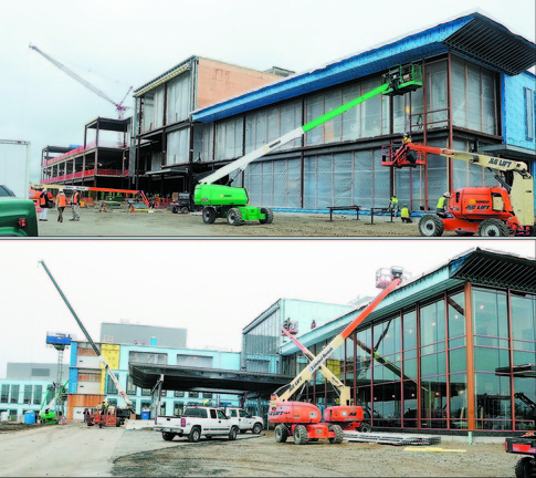 Making progress: This pair of photos shows progress over the course of six months at the front entrance of the new MaineGeneral Medical Center regional hospital in northern Augusta. The top photo is from May 22, 2012; the bottom photo is from Dec. 4, 2012.