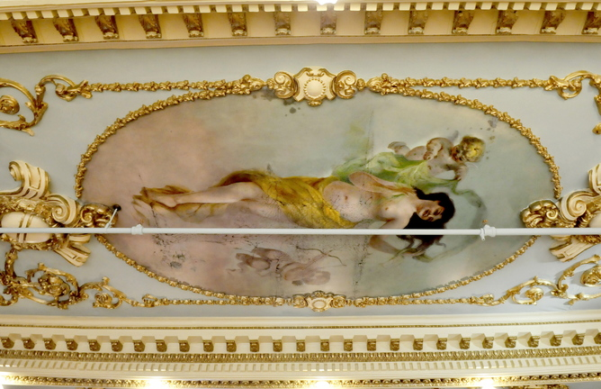 "Restoration: One of the restored paintings on the ceiling in ""The Great Room"" which is part of one of the community rooms inside the Gerald hotel in Fairfield."