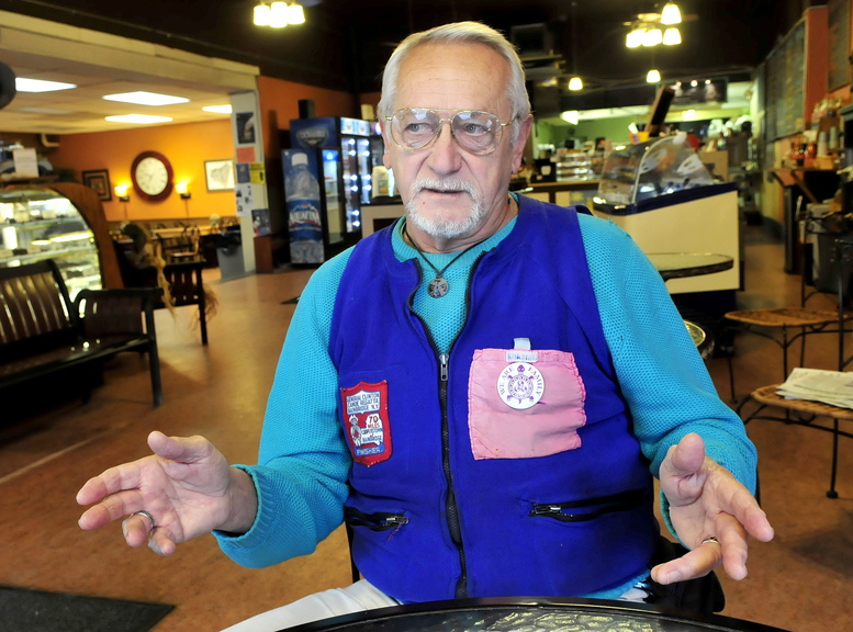 MAN OF MANY TALENTS: Irving Gilbert, 71, speaks about his active lifestyle at Jorgensen's Restaurant in Waterville recently.