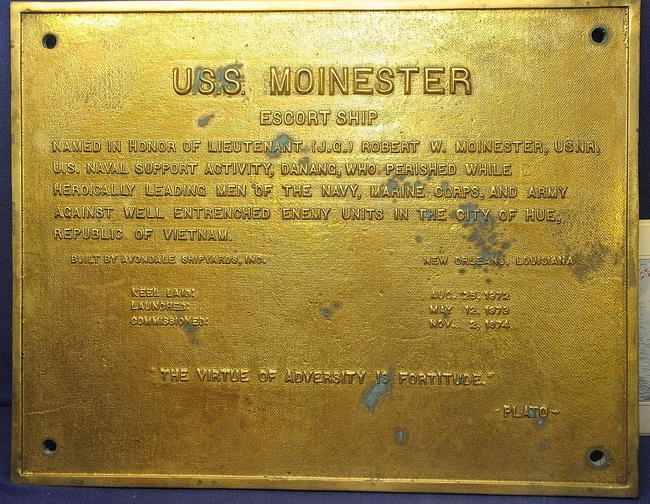 Memorial: This plaque from the U.S.S. Moinester is on display at the Maine Military Historical Society Museum in Augusta.