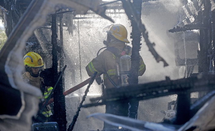 South China blaze: About 15 firefighters responded to a camper fire on Beach Road in South China on Tuesday morning. Laura Ellis escaped injury after her car caught fire and spread to the fifth wheel trailer she was staying in.