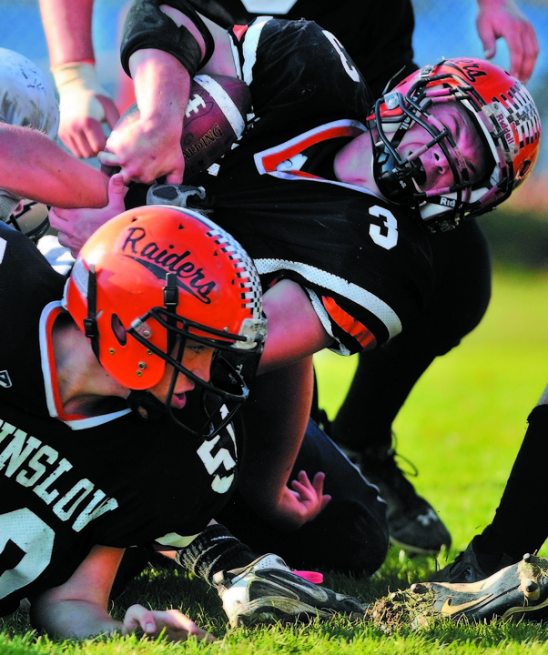 READY TO GO: Dylan Hapworth and the Winslow High School football team take on rival Waterville in the Eastern C regional championship Saturday at Poulin Field in Winslow.