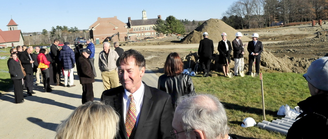 GROUNDBREAKING: Gregory Powell, president of the Harold Alfond Foundation, speaks with attendees at a groundbreaking ceremony for a new building at Kennebec Valley Community College in Hinckley on Wednesday. The building will house classrooms and labs on the school's Harold Alfond Campus.