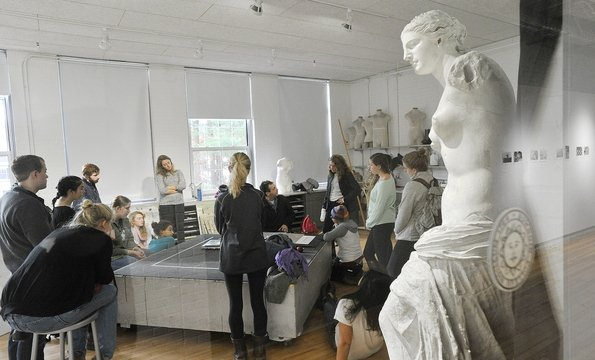 A Bowdoin College art class meets in one of the new drawing studios in the Edwards Center for Art and Dance in Brunswick. The center will have a grand opening this weekend.