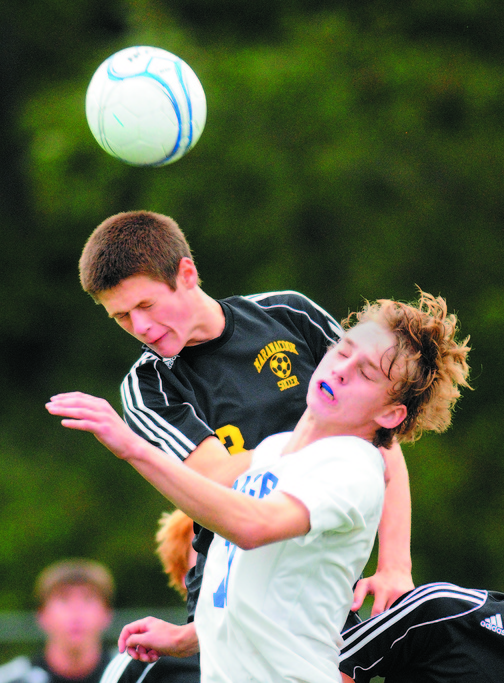 GETTING SOME AIR: Kent Mohlar and the Maranacook boys soccer team will play Hall-Dale for the Western C title today in Farmingdale.