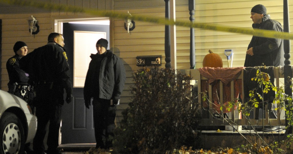 Augusta Police Officers secure apartment six at 32 Crosby Street in Augusta after a deceased woman was discovered inside the first floor unit just after 8 p.m. A man also inside the apartment was transported to the hospital with injuries, police said. State Police detectives from the Major Crimes Unit took charge of the investigation that authorities characterized as a suspicious death. Chief Medical Examiner Dr. Margaret Greenwald arrived at midnight to determine a cause of death, according to authorities.