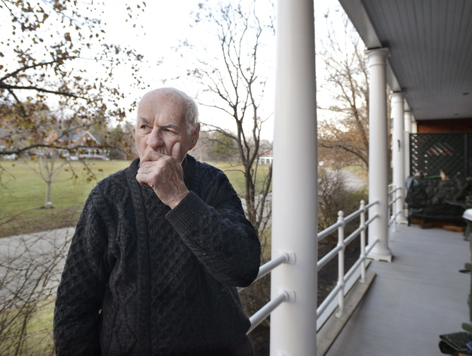 """Bill Finney of Great Diamond Island describes seeing the hotel fire from his porch Saturday. """"They were doing a really nice job"""" on renovations, he said. """"It's really unfortunate."""""""