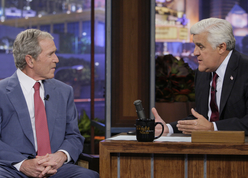 """Former president George W. Bush appears with Jay Leno on """"The Tonight Show."""""""