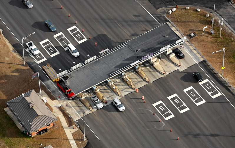 Toll booths in Scarborough at the entrance to Interstate 295 are seen in this aerial photograph taken Thursday.