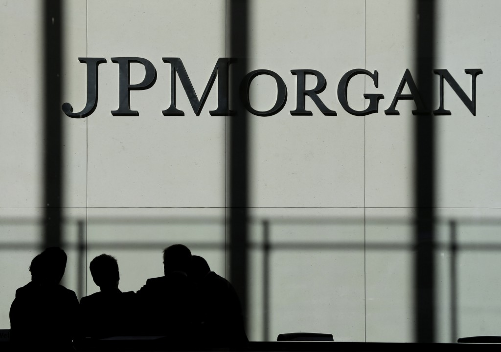 The JPMorgan Chase & Co. logo is displayed at their headquarters in New York.